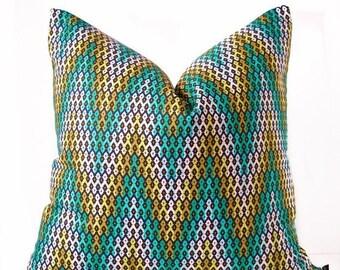 Sale Turquoise pillow cover - Chevron pillow - Green and Blue pillow - Chartreuse pillow - Boho pillow - Decorative pillow