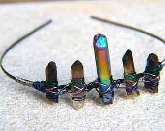 Festival Headband Crown Angel Aura Smokey Quartz Wire Wrapped Rave EDM Music Festival Plur Fairy Headdress