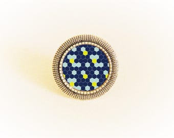 Ring silver adjustable and cabochon Art deco geometric Yellow/Navy/Sky Blue