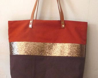 Brown Bag chocolate/rust brick band glitter camel leather handles gold glitter