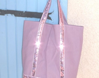 Pink fabric with stripe tote bag glitter sequins