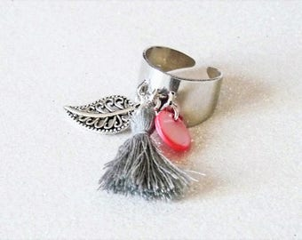Silver plated Bangle with tassel and charm style marc deloche Adjustable ring