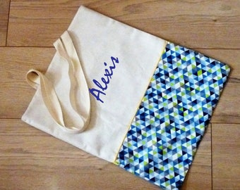 customizable name reversible Tote bag/tote bag/tote bag lined in beige/yellow/turquoise geometric