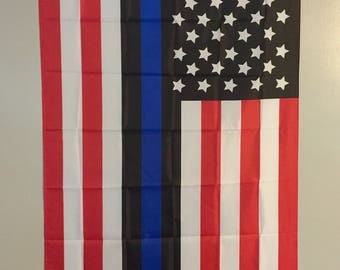 Thin Blue Line Law Enforcement American Flag 3'X5'