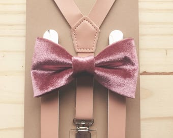 Dusty Rose Groomsmen outfits Blush pink Bow tie Suspenders set for Groomsmen Rustic wedding outfits for ring bearer baby outfit