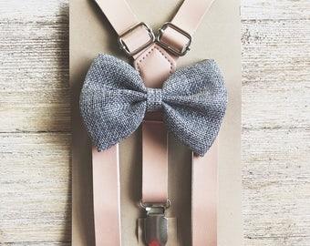 Groomsmen rustic wedding suspenders Blush pink grey Burlap Bowtie/Suspender set baby boys/toddler/wedding outfits baby braces