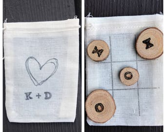 Tic tac toe wedding guest favors - guest gifts - rustic wedding - reception decor