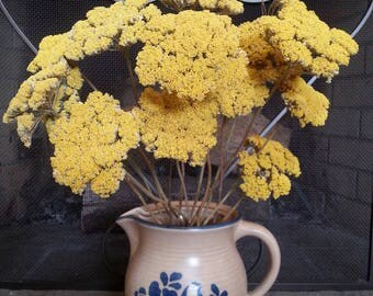 15 Stems Dried Gold Yellow Yarrow, DIY Flower Bouquet Autumn Dried Flowers, Rustic Fall Decor,Fall Dried Flower Bouquets