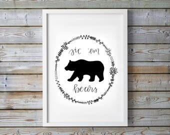 Baylor Sic Em Bears Floral Wreath Print - University - Waco - BU - Dorm Decor - Calligraphy - Digital Art - Instant Download - College