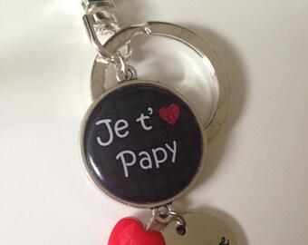 Keyring, cabochon - Grandpa gift Grandpa I love you Grandpa