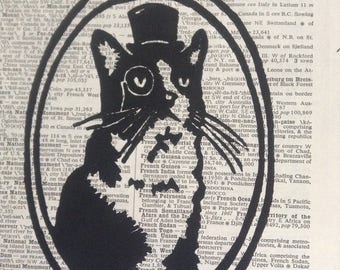 Top Hat Cat  Linoblock Print 5x7