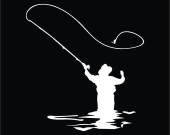 Fly Fishing Fisherman Vinyl Decal / Sticker 2(TWO) Pack