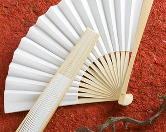 Paper White Wedding Fans (Pack of 10) Wedding Favors
