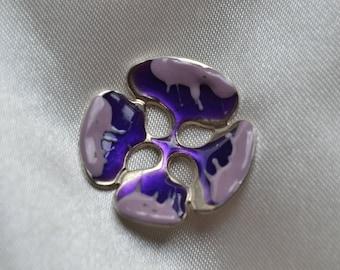 button flower enameled metl purple 28mm