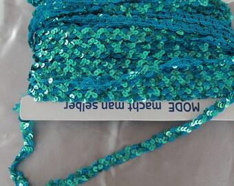 Ribbon, glitter, Rhinestones, blue, 1 cm, width