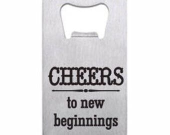 Cheers to New Beginnings Wallet Bottle Opener Engraved Personalized