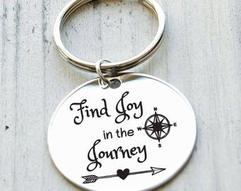 Find Joy in the Journey Personalized Key Chain - Engraved