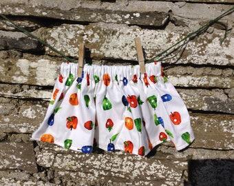 Handmade girl's skirt, very hungry caterpillar fruit fabric