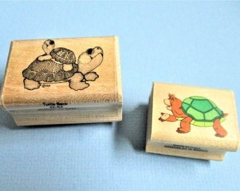Two Turtle Theme Paper Craft Rubber Stamps Wood Block Mounted Stamp Scrapbooking Invitations Card Making DIY Craft Supply Cute Turtles