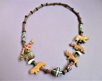 African Safari Necklace Tribal Animal Necklace Zebra Giraffe Lion Hippo Leopard Elephant Shells Heishi Beads Statement Necklace Zoo Animals