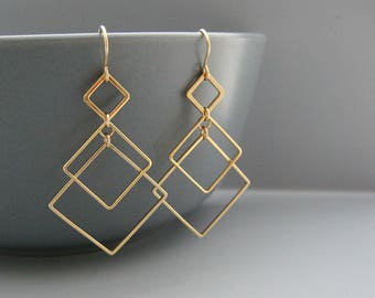 Gold Art Deco Earrings - 3 square modern minimalist architectural jewelry, math teacher gifts - Sunrise