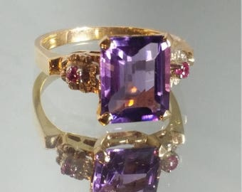 ON SALE Vintage - ***Never Worn*** 14K Solid Yellow Gold Art Deco Amethyst and Ruby Ring Vintage