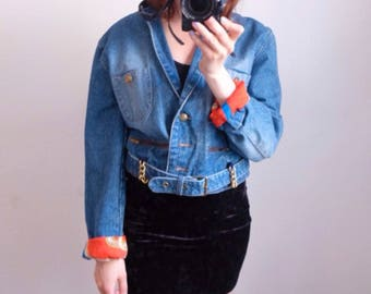 90s sailor jeansjacke cropped fitted S M
