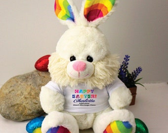 Personalised Rainbow Easter Bunny - Free Post