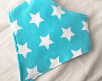 Pastel Aqua Blue White Stars Baby Bandana Bib