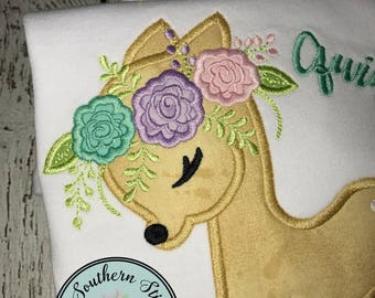 Floral Fawn Applique Design ~ Baby Deer with Floral Crown ~ Instant Download