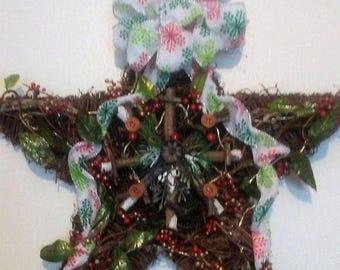 ON SALE Christmas Star  Wreath,Lighted Christmas Grapevine,Winter Wreath,Rustic Christmas Decor,Country Christmas Decor,Led Star Wreath