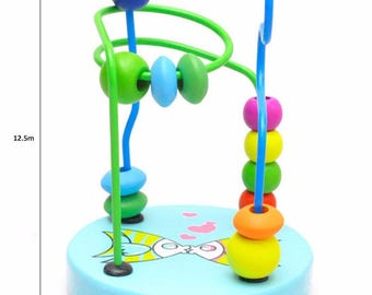 1 Piece Baby Colorful Wooden Around Beads Children Kids Educational Game Toy