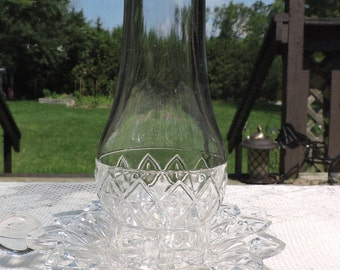 Vintage Federal Glass PETAL Hurricane Candle Holder with Chimney