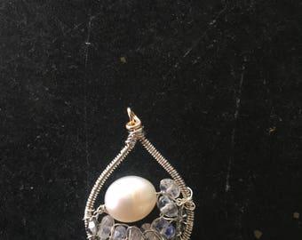 pearl, moonstone, Swarvoski, Mosiac Pendant
