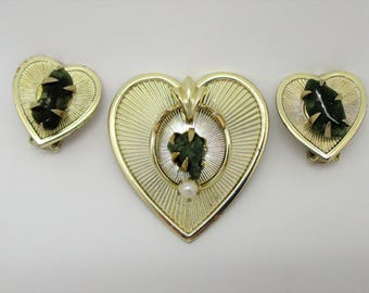 Coro Heart Brooch and Clip Earring Set with Jade Stone - Coro Demi Parure - MCM Brooch and Earrings - Coro Heart Jewelry