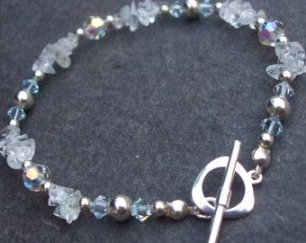 Sterling Silver Aquamarine bracelet, dainty Aquamarine gemstone bracelet, blue gemstone bracelet March Birthstone gift, Aquamarine jewelry