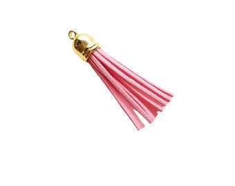 Tassel - 58mm Long Tassels - 10 Pale Pink, Gold Cap - Decorative Tassels For Jewelry - Purse Tassels - Key Chain Tassel Pendants - TL-G040
