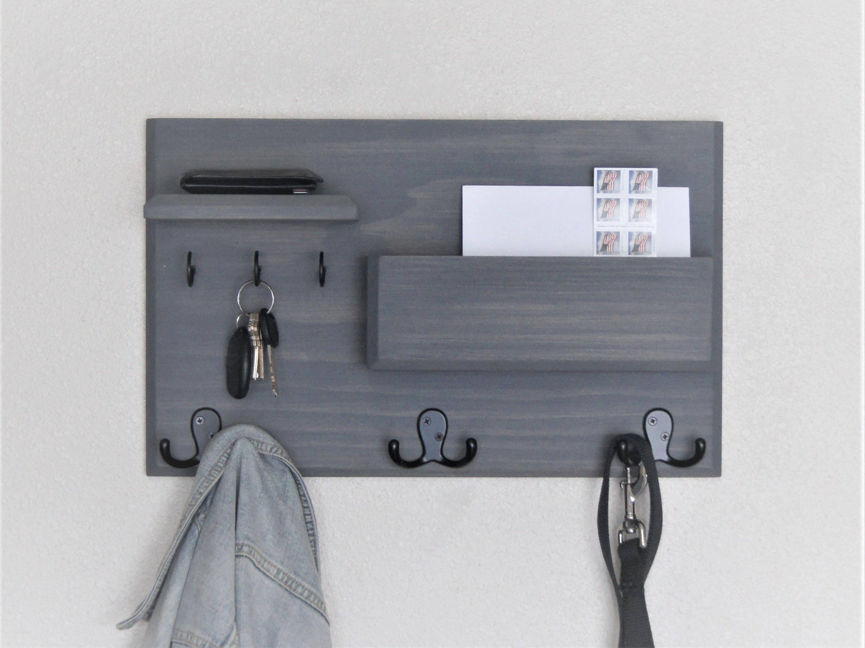 Coat Rack Mail Storage Key Hooks Floating Shelf Wall Mounted