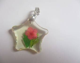 Star pendant with dark pink dried flowers  resin pendant NO chain included