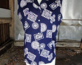 Vintage 1950's Blouse * Blue and White Cotton Bandana Print * Medium to Large