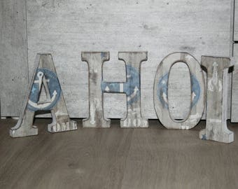 "Shabby chic letters, ""Ahoi"", maritime, wood"