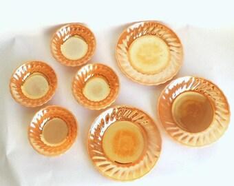Fire King Peach Lustre Dinnerware, Vintage Glass Plates, Peach Lustre, Anchor Hocking Vintage Glass, Peach Glass, Peach Glass Bowls