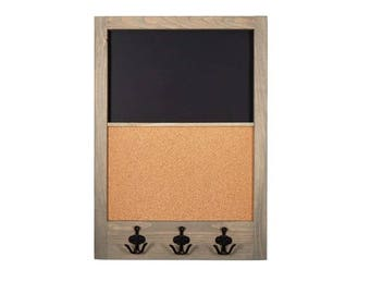 """Chalkboard and Corkboard with Black Antique Hooks   20"""" x 28""""   Message Board with Hooks   Custom Stain and Custom Color Options"""