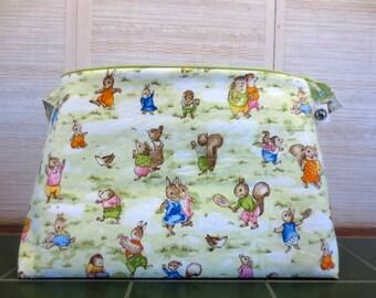 Storybook Village Animals - Jumbo, Knitting Project Bag, Crochet Bag, Sweater Project Bag, Knitting Organizer, Rabbits