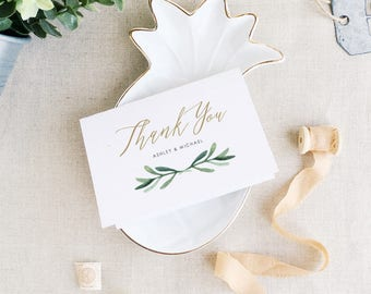 Greenery Thank You Card Template | Wedding Thank You | Printable Thank You Cards | Edit in Word or Pages