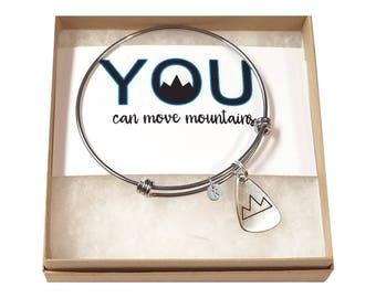 Mountain Bracelet- Hiking Bracelet- Mountain Range Bracelet- Move Mountains Bracelet- Mountain Jewelry- Nature Bracelet- Mountaineer Gift