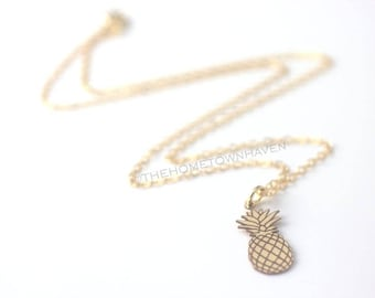 Pineapple Necklace - Beach jewelry, summer necklace, Pineapple charm necklace