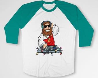 Funny Christmas Raglan Xmas T Shirt Holiday Present Jesus Gifts Christmas Party TShirt Xmas Outfit Holiday Baseball Raglan Tee TEP-600