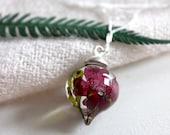 Burgundy verban dried flower resin drop pendant Necklace