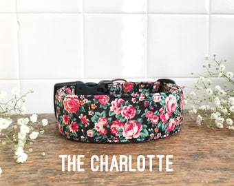 Dog Collar, Floral Dog Collar, Vintage Dog Collar, Rose Dog Collar, Pink Dog Collar, Fashion Dog Collar, Girl Dog Accessory